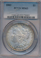 1883 MORGAN SILVER DOLLAR STUNNING COIN PCGS CERTIFIED MS63