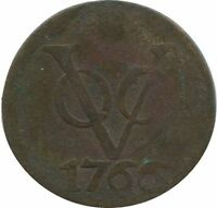 1766 VOC 1 DUIT UTRECHT NETHERLANDS EAST INDIES COLONIAL VOC1073.8US