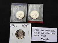 1986 NICKEL 3 COIN SET  S PROOF P & D IN US MINT CELLO