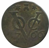 1766 VOC 1 DUIT ZEELAND NETHERLANDS EAST INDIES COLONIAL VOC1114.8UK
