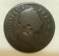 MAURITIUS ISLE DE FRANCE FRENCH COLONIES COUNTERMARK HOST 1769 IRISH HALFPENNY