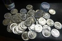1954 D ROOSEVELT DIME ROLL   BRILLIANT UNCIRCULATED   SILVER 50 COINS.