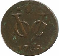 1730 VOC DUIT HOLLAND NETHERLANDS EAST INDIES COLONIAL PENNY VOC1343.12US