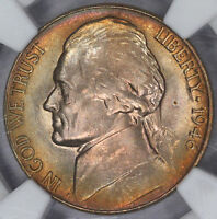 1946 D JEFFERSON NICKEL NGC MS66 COLORFUL RAINBOW TONED BLAZING GEM  K9