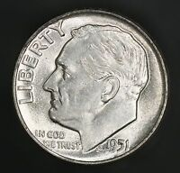 1951 P ROOSEVELT DIME STUNNING COIN FB FULL BANDS BEAUTY GC334