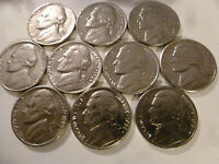 10 COINS 1980   1989 PHILADELPHIA JEFFERSON NICKEL RUN LOT