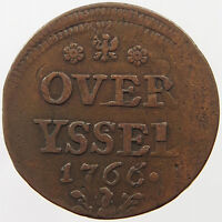 NETHERLANDS DUIT 1766 OVERIJSSEL OFF CENTER OVERSTUCK   T21 495