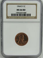 1964 D LINCOLN CENT NGC MS66RD