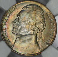 1943 P JEFFERSON NICKEL NGC MS67 5FS COLORFUL RAINBOW TONED SEE VIDEO  D2
