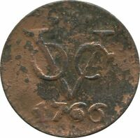 1766 VOC 1 DUIT UTRECHT NETHERLANDS EAST INDIES COLONIAL VOC1074.8US