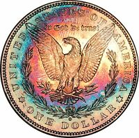 1880 O MORGAN SILVER DOLLAR $1 BU MS SUPERB MONSTER RAINBOW COLOR TONED GEM