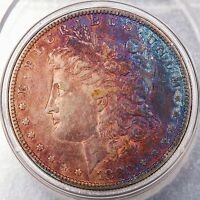 1880 O MORGAN DOLLAR MS CONDITION DEEP RAINBOW COLOR TONED NICE LUSTER 25938