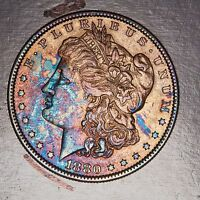 1880 O MORGAN $1 SILVER DOLLAR MS CONDITION DEEP RAINBOW COLOR TONED 26826