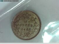 1900 CANADIAN SILVER NICKEL FIVE CENT COIN OVAL 0 ICCS AU 50