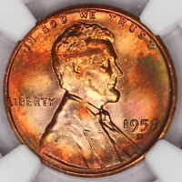1959 D LINCOLN CENT NGC MS65RB MEMORIAL PENNY RAINBOW COLOR TONED Z169