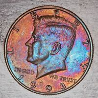 1993 D MINT STATE KENNEDY HALF DOLLAR CHOICE GEM UNIQUE MULTI COLOR TONED LUSTER