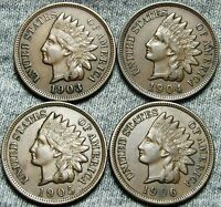 1903 1904 1905 1906 INDIAN HEAD CENTS     NICE LOT     W553
