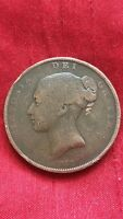 QUEEN VICTORIA 1853 PENNY ORNAMENTAL TRIDENT LARGE COPPER PENNY