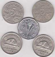 FIVE DIFFERENT CANADIAN NICKELS   1929 1930 1939 1940 & 1945