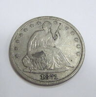 1871 S SEATED LIBERTY HALF DOLLAR   XF DETAILS