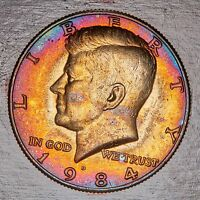 1984 D MINT STATE KENNEDY HALF DOLLAR CHOICE GEM MULTI COLOR TONED LUSTER