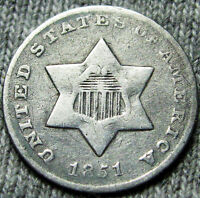 1851 O SILVER THREE CENT PIECE 3CP     AMAZING DETAILS     N583