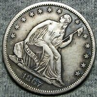 1867 S SEATED LIBERTY HALF DOLLAR SILVER TYPE COIN     STUNNING     D160