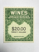 US REVENUES STAMPS COLLECTION SCOTT RE 181 $20 WINES UNUSED MNH NG CAT. @ $25