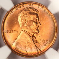 1953-D LINCOLN CENT NGC MINT STATE 65RD WHEAT CENT LY RAINBOW COLOR TONED Z41