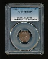 1913-S LINCOLN WHEAT CENT/CENT 1C PCGS MINT STATE 62 BROWN BN TYPE 1, WHEAT REVERSE