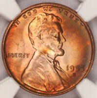 1955 S LINCOLN CENT NGC MS66RB WHEAT PENNY NICELY RAINBOW COLOR TONED Z89