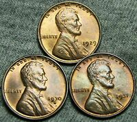 1929  1930-S  1931 LINCOLN WHEAT CENTS LOT --- GEM BU CONDITION --- T176