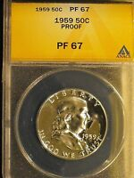 1959 SILVER PROOF FRANKLIN HALF DOLLAR GRADED PF67 BY ANACS. FBL FULL BELL LINES