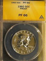 1960 SILVER PROOF FRANKLIN HALF DOLLAR GRADED PF66 BY ANACS. FBL FULL BELL LINES