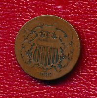 1869 2 CENT PIECE   CIRCULATED COPPER TWO CENT SHIPS FREE