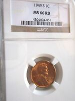 LINCOLN CENT 1949 S NGC MS 66 RED