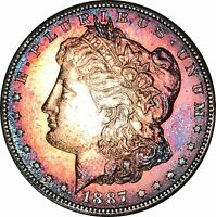 1887-S MORGAN SILVER DOLLAR GREAT CONDITION DEEP MULTI COLOR TONED GOOD FEATHERS