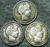 1901 1902 1911 BARBER DIMES US COINS      LOT     W133