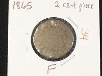 1865 2 CENT PIECE IN FINE CONDITION - FREE US SHIPPING.