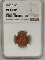 1955 D LINCOLN CENT NGC MS66RD