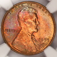 1955 D LINCOLN CENT NGC MS65RB WHEAT PENNY NICELY RAINBOW COLOR TONED Z63