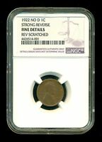 1922 NO D STRONG REVERSE LINCOLN WHEAT CENT PENNY 1C NGC FINE DETAILS