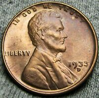 1933 D LINCOLN CENT WHEAT PENNY      GEM BU ORIGINAL      T620