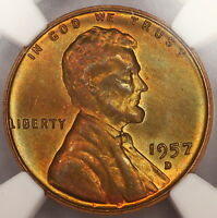 1957 D LINCOLN CENT NGC MS66RB WHEAT PENNY STUNNING RAINBOW COLOR TONE E9