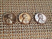 1956 1957 1958 LINCOLN CENTS   AU CONDITION NICE TONED TRIO