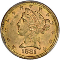 1881/0 PCGS MS 62 LIBERTY HEAD HALF EAGLE $5   TYPE 2 WITH MOTTO