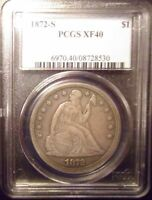 1872 S LIBERTY SEATED SILVER DOLLAR PCGS40 08728530 >>SUPER FAST