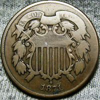 1871 TWO CENT PIECE 2CP  -- LOW MINTAGE TYPE COIN -- R683
