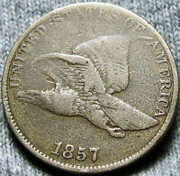 1857 FLYING EAGLE CENT SNOW 16 MULTIPLE DIGITS IN EAGLE  -- TYPE COIN -- D198