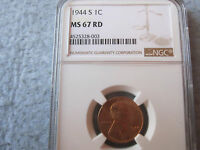 1944 S LINCOLN WHEAT CENT NGC GRADED MS67RD GEM 1C CHEAPEST ON EBAY
